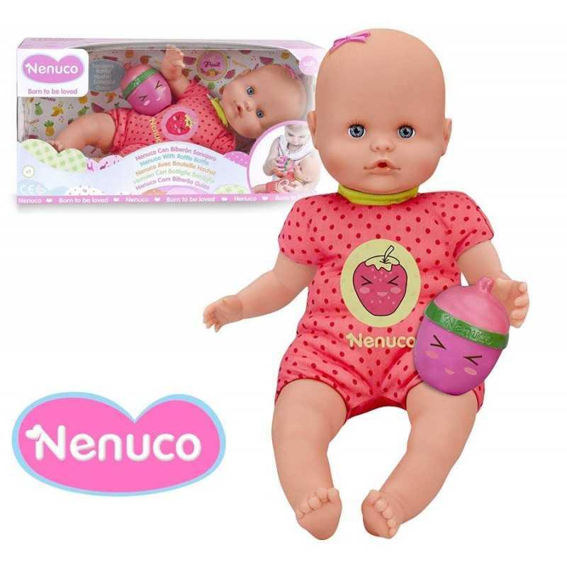Muñeca Nenuco con Biberon Sonajero - Rosado con Fuxia - 35 cms