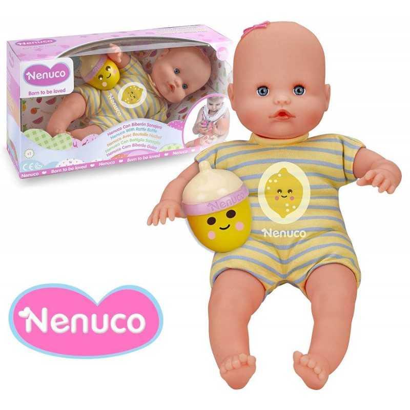 Muñeca Nenuco con Biberon Sonajero - Amarillo Azul - 35 cms