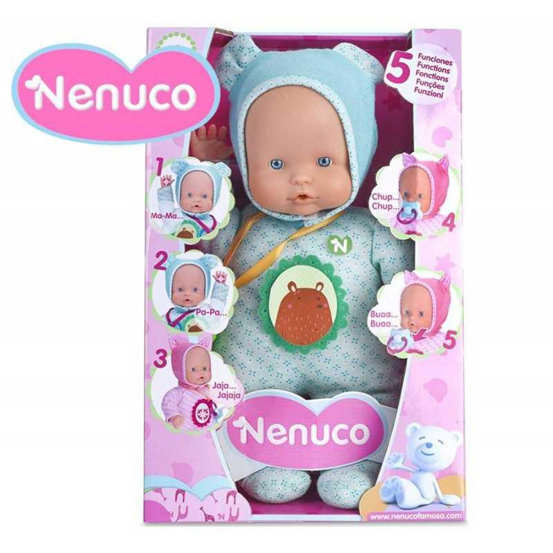 Muñeca Nenuco Blandito 5 Funciones - Pijama Turquesa - 30 cms