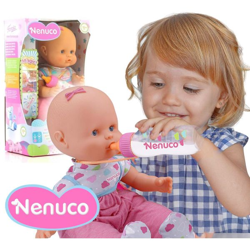 Muñeca Nenuco Con Biberón Mágico - Pijama Rosa - 35 cms