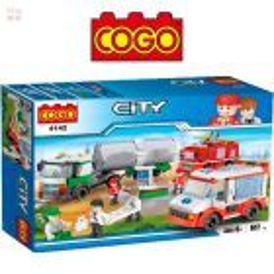 Set Ambulancia, Bomberos y Camion - Juego de Construcción - Cogo Blocks 617 piezas