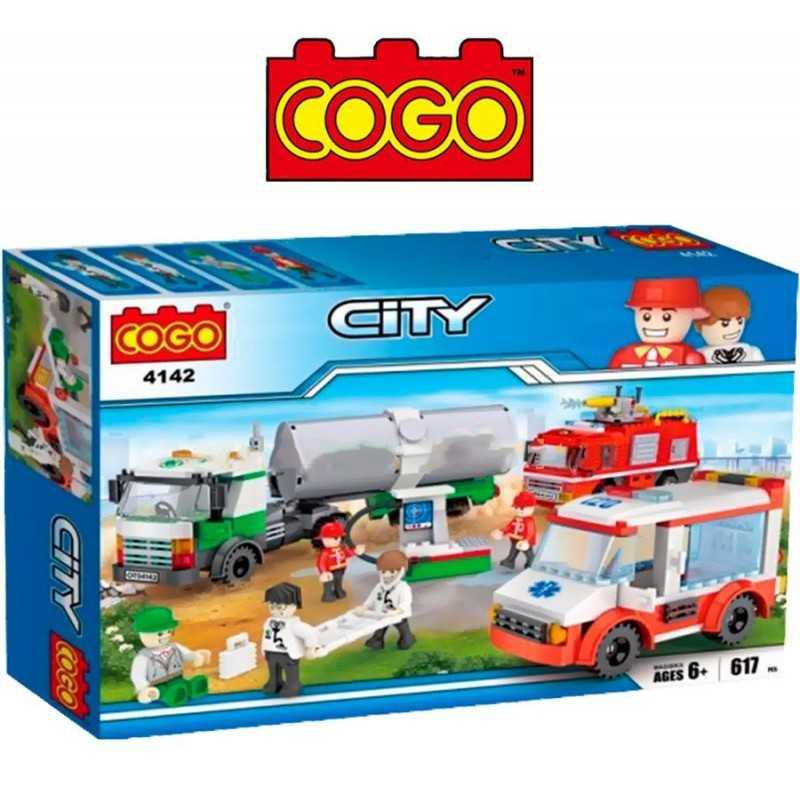 Set Ambulancia, Bomberos y Camion - Juego de Construcción - Cogo Blocks