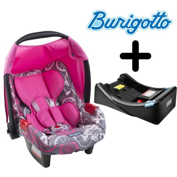 Baby Seat con Base para Auto - Burigotto - Touring Evolution Bike Rosa