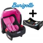 Baby Seat con Base para Auto - Burigotto - Touring Evolution SE Azaleia Rosa con Base