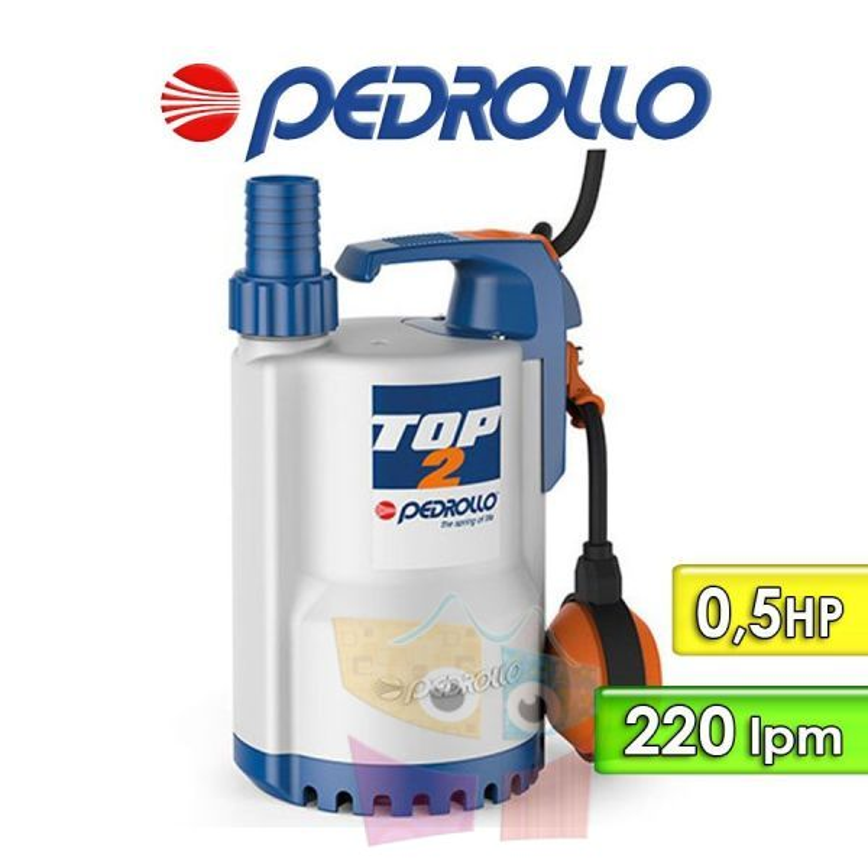 Motobomba Sumergible de Drenaje 220 lpm y 0,5 HP - Pedrollo - TOP 2 5MT