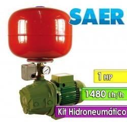 Motobomba Autocebante Domiciliaria 1480 L/H y 1 HP con Kit Hidroneumatico- Saer - M100 P30