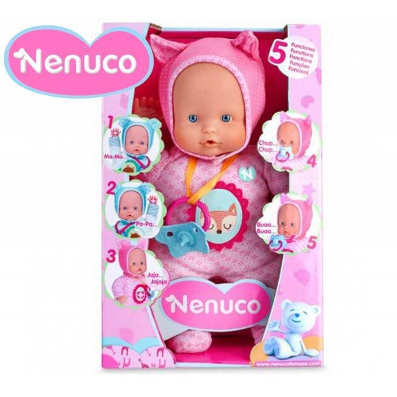 Muñeca Nenuco Blandito 5 Funciones - Pijama Rosa - 30 cms