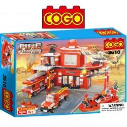 Set Completo de Estación de Bomberos - Juego de Construcción - Cogo Blocks - 842 piezas