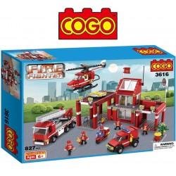 Set de Estación de Bomberos - Juego de Construcción - Cogo Blocks - 827 piezas