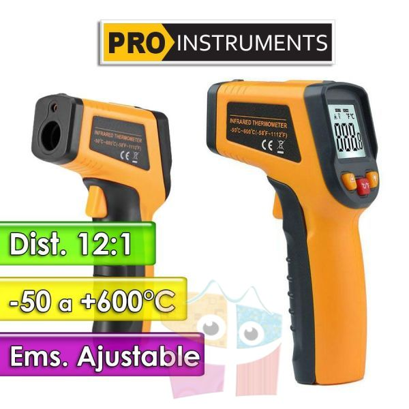 Termómetro Infrarrojo - Pro Instruments - Escala -50 a +600°C   /  12:1 / Emisividad Ajustable