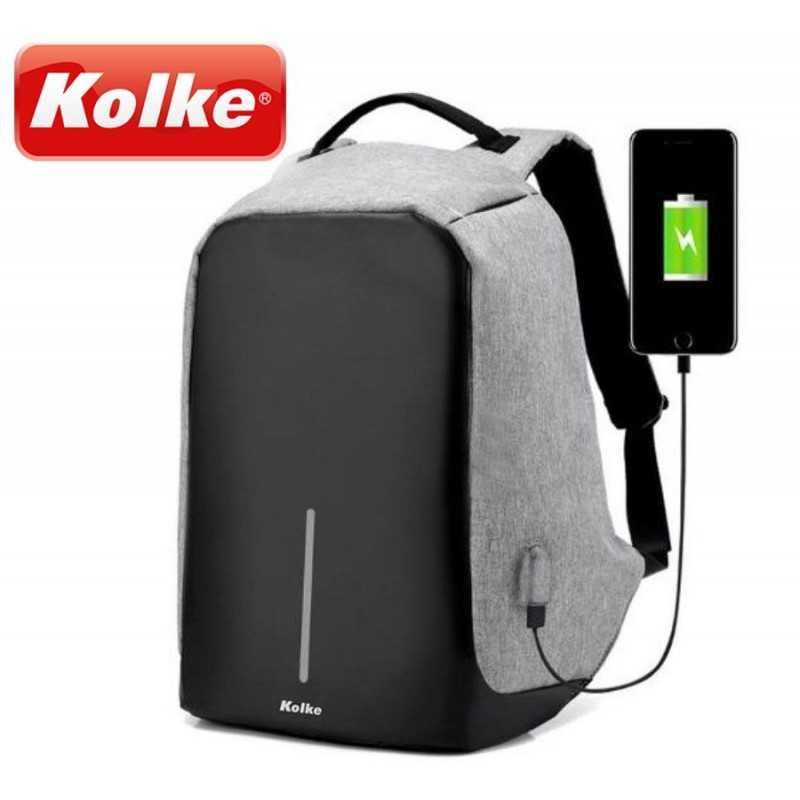 Mochila Anti-Robo con - Kolke - KVM-245 - Gris Claro