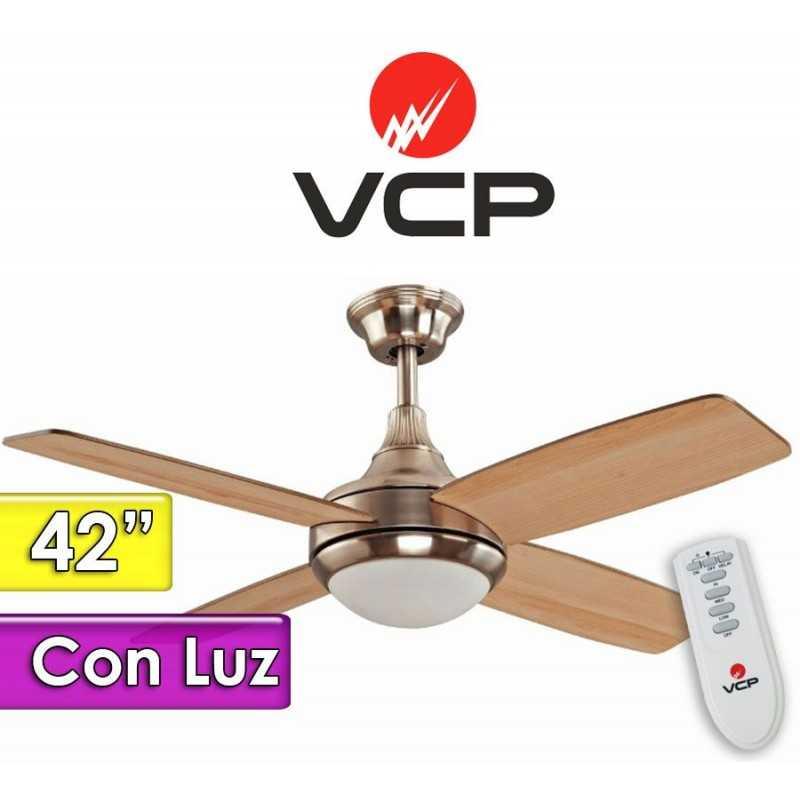 """Ventilador de Techo de 42""""  Con Luz - VCP - Rocco Madera y Plata"""