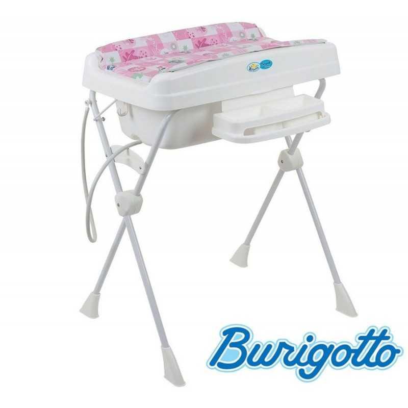 Bañera con Cambiador y Asiento Reductor - Burigotto - Millenia - Rosa Peixinho