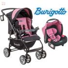 Carrito de bebé + Baby Seat - Burigotto - AT6 Touring Evolution Negro y Rosa  IXCJ4015PR05