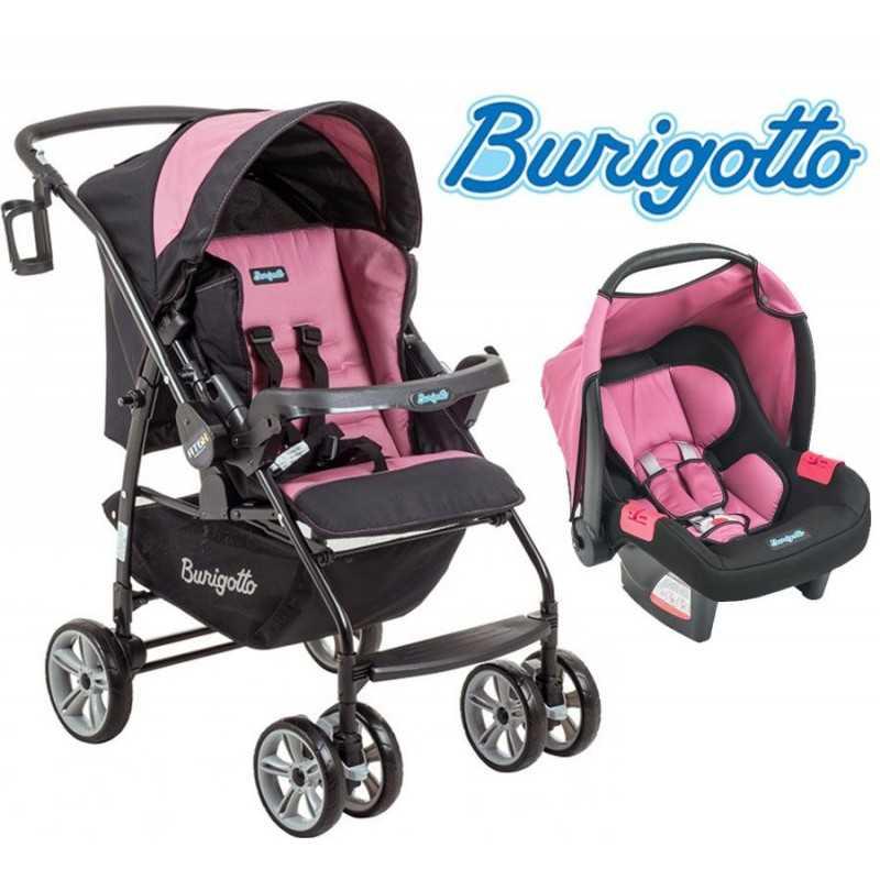 Carrito de bebé + Baby Seat - Burigotto - AT6 Touring Evolution Negro y Rosa  IXCJ4015PR05