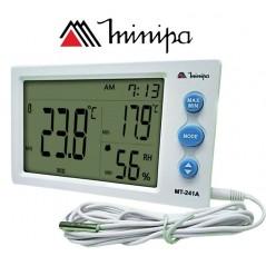 Termohigrometro Digital con sonda - Minipa - MT-241A - Temperatura y humedad interior y exterior