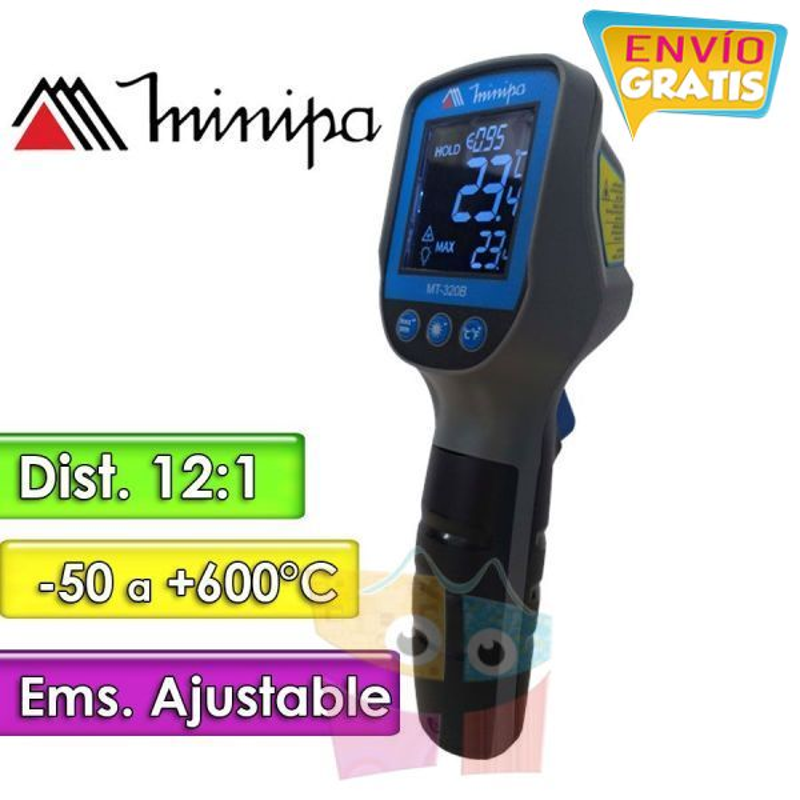 Termómetro Infrarrojo - Minipa - MT-320B - Escala -50 a +600°C / 12:1 / Emisividad Ajustable
