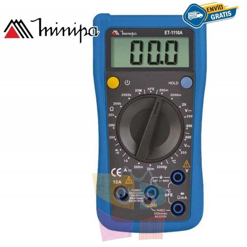 Multimetro Digital - Minipa - ET-1110A - VDC 600V / VAC 600V / ADC 10A / Temperatura