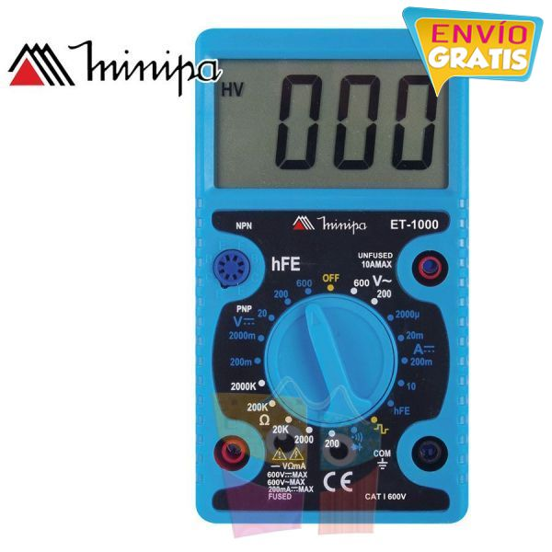Multimetro Digital - Minipa - ET-1000 - VDC 600V / VAC 600V / ADC 10A