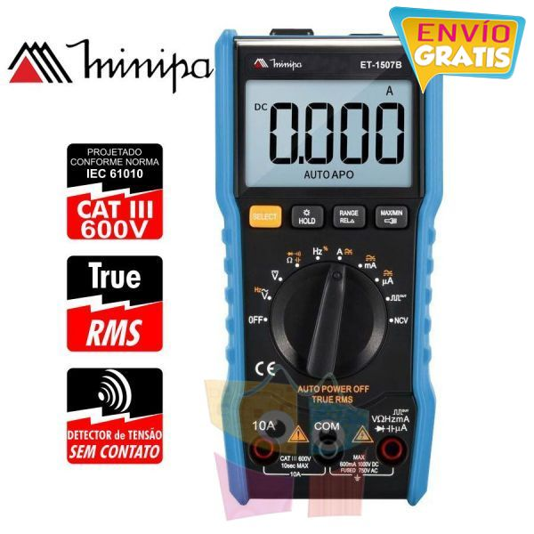 Multimetro Digital - Minipa - ET-1507B - True RSM / VDC 1000V / VAC 750V / ADC 10A / AAC 10A