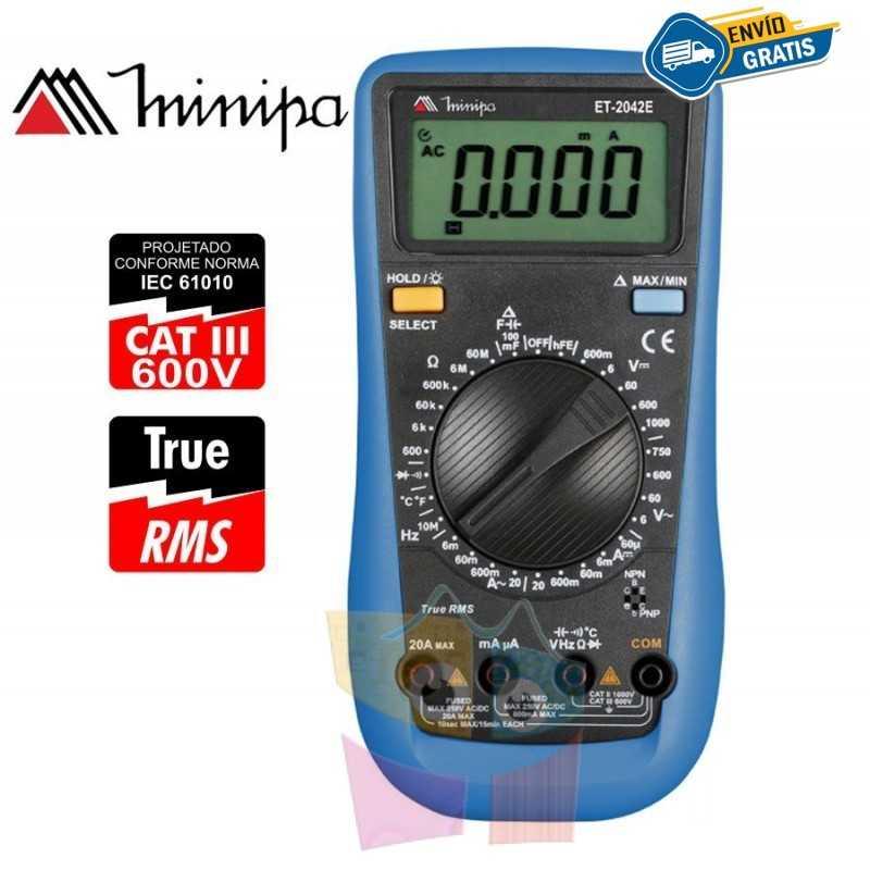 Multimetro Digital - Minipa - ET-2042E -True RMS AC / VDC 1000V / VAC 750V / ADC 20A / AAC 20A