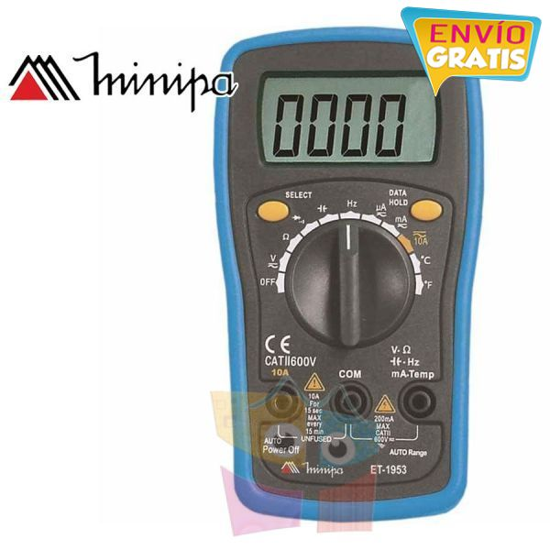 Multimetro Digital - Minipa - ET-1953 - VDC 600V / VAC 600V / ADC 10A / AAC 10A