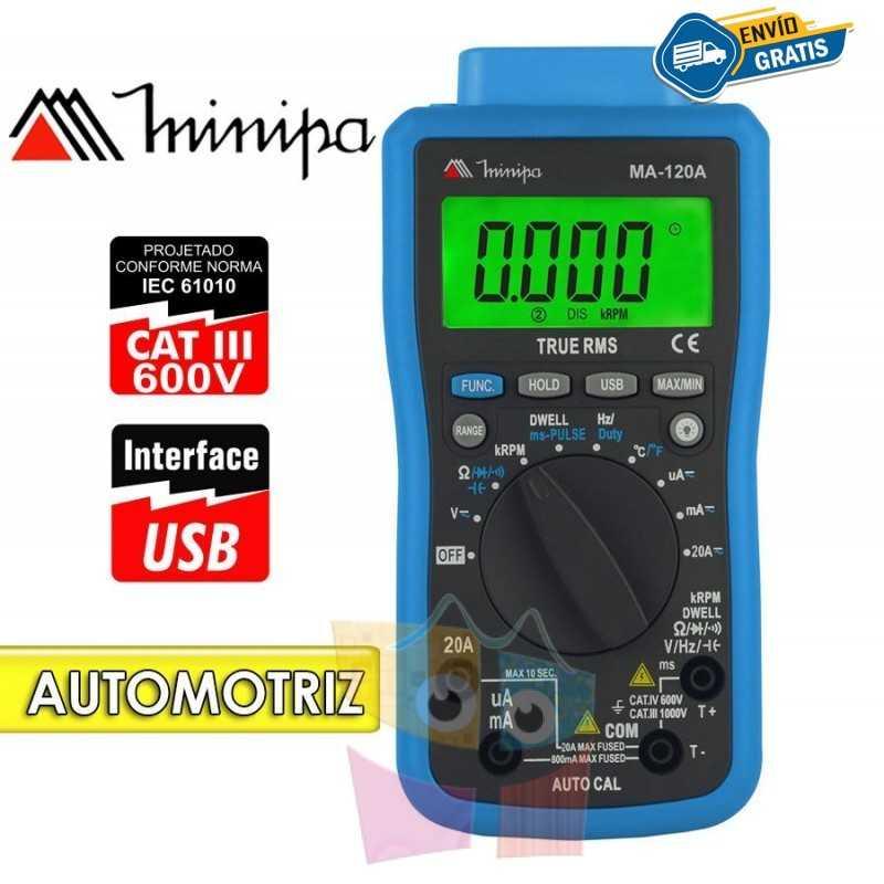 Multimetro Digital Automotriz - Minipa - MA-120A - RPM / Dwell / Duty Cycle / Pulse Width
