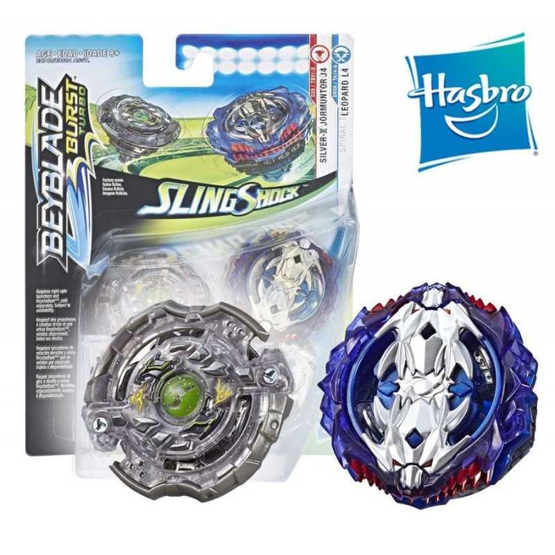 Beyblade Burst Turbo Slingshock - Empaque Doble - Spiral Treptune T4, Lava-X Anubion A4 - Hasbro