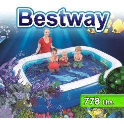 Piscina Infantil - 778 Lts - 2,62 x 1,75 x H. 0,51 Mtr - Bestway - Aventura Submarina 3D - 54177 + Inflador