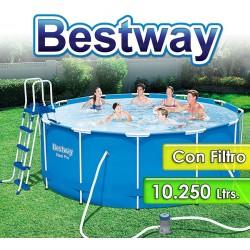 Piscina Estructura Metalica - 10.250 Lts - Ø 3,66 x H. 1,22 Mtr - Bestway - Serie Steel Pro MAX -  56420 + Filtro y Accesorios