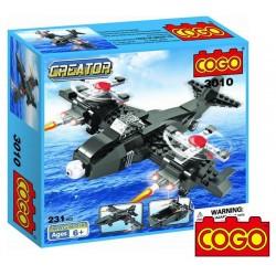 Avion Militar 3 en 1 - Juego de Construcción - Cogo Blocks - 231 piezas