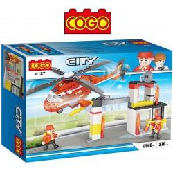 Estacion de Bomberos con Helicoptero - Juego de Construcción - Cogo Blocks - 270 piezas