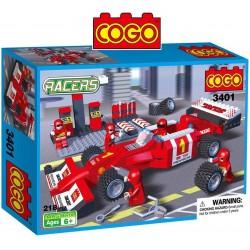 Auto de Formula 1 con Pit  - Juego de Construcción - Cogo Blocks - 218 piezas