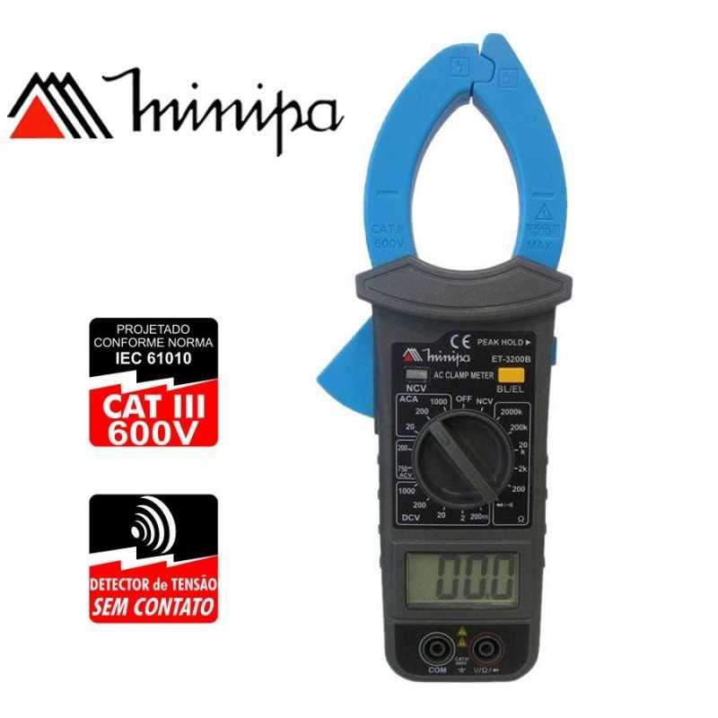 Pinza Amperimetrica - Minipa - ET-3200B - VDC 1000V / VAC 750V / AAC 1000A