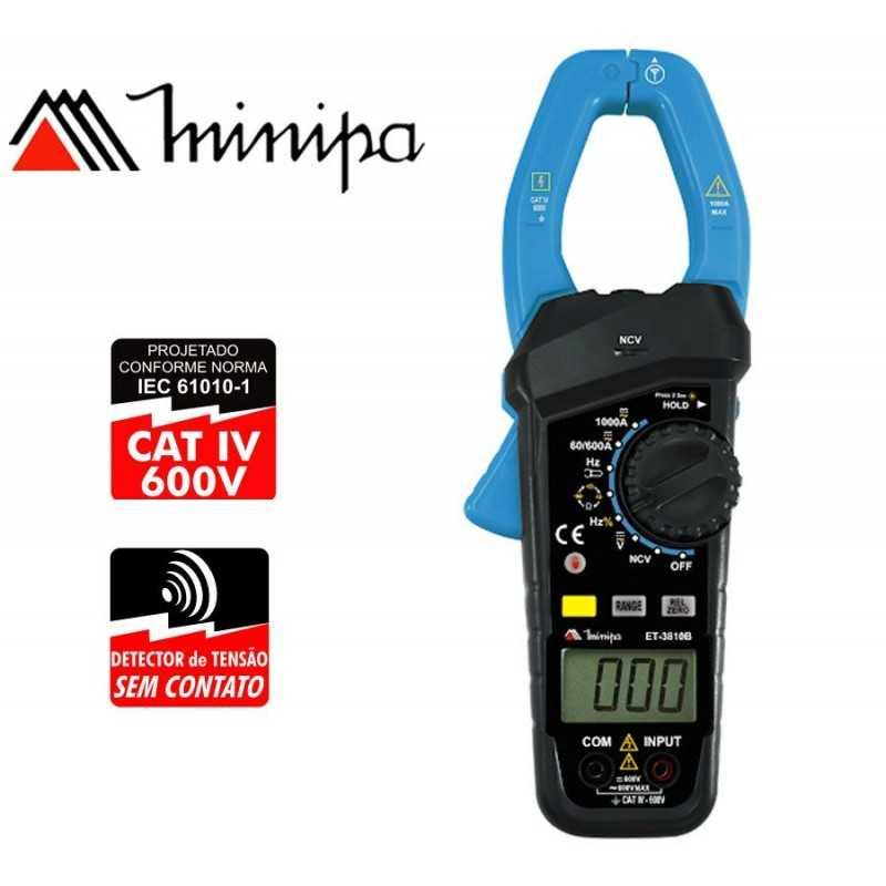 Pinza Amperimetrica - Minipa - ET-3810B - VDC 600V / VAC 600V / AAC 1000A / ADC 1000A