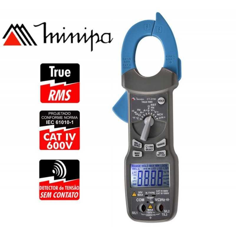 Pinza Amperimetrica - Minipa - ET-3790 - True RMS AC / VDC 1000V / VAC 750V / AAC 600A / ADC 600A