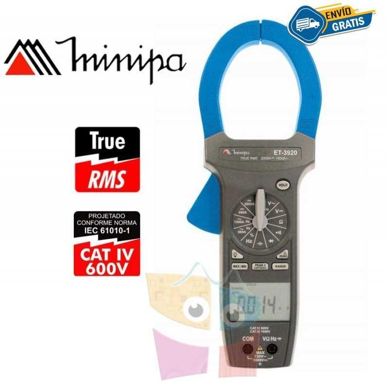 Pinza Amperimetrica - Minipa - ET-3920 - True RMS AC / VDC 1000V / VAC 750V / AAC 1500A / ADC 2000A