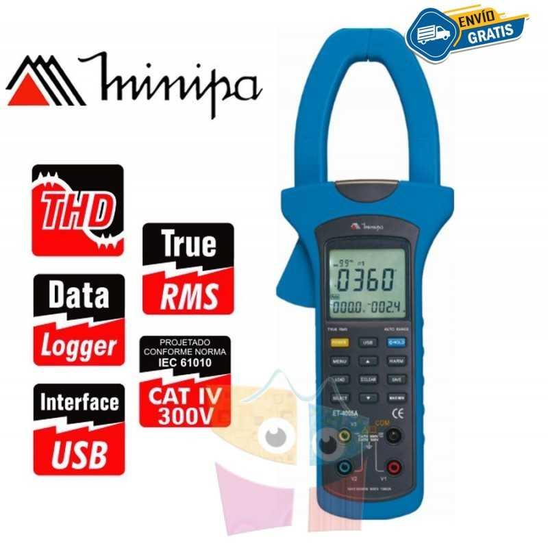 Pinza Wattímetro - Minipa - ET-4055A - True RMS  AC / Pot. 600 kWh / Conexion a PC