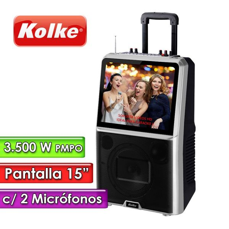 "Parlante Karaoke con Pantalla de 15"" - Kolke - KARAOKE PRO KPB-298"