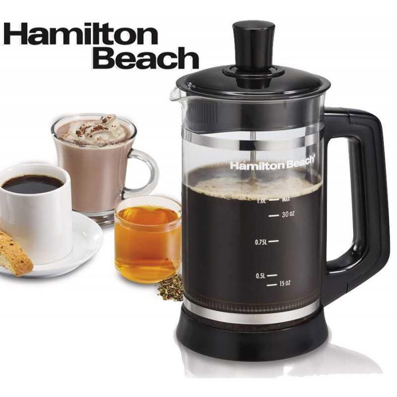 Cafetera Francesa de Prensa de 1 Litro - Hamilton Beach - 40400R - Cafe, chocolate o te caliente