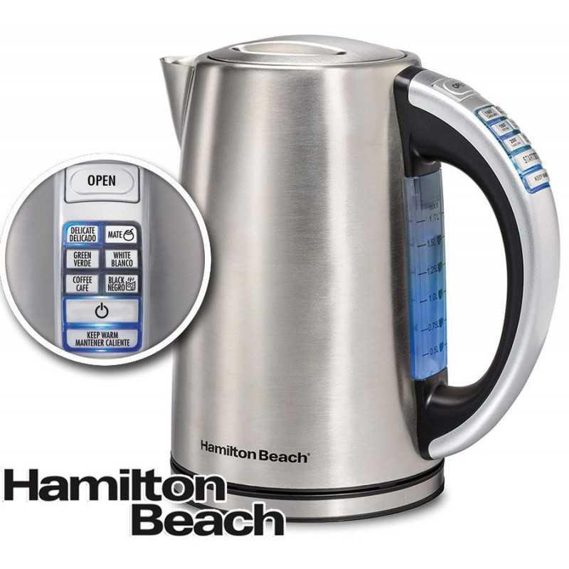 Hervidor de acero Inoxidabe con control de Temperatura de 1,7 Litros - Hamilton Beach - Modelo 41020-CL