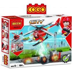 Helicóptero de Bomberos - Juego de Construcción - Cogo Blocks - 164 piezas