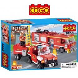 Camion y Jeep de Bomberos - Juego de Construcción - Cogo Blocks - 324 piezas