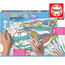 Rompecabezas de Vida Marina para Colorear de 150 piezas - Educa