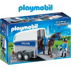 Policía con caballo y remolque - Playmobil