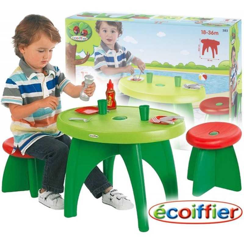 Mesa y Sillas de Jardín con accesorios - Ecoiffier - 11 Piezas