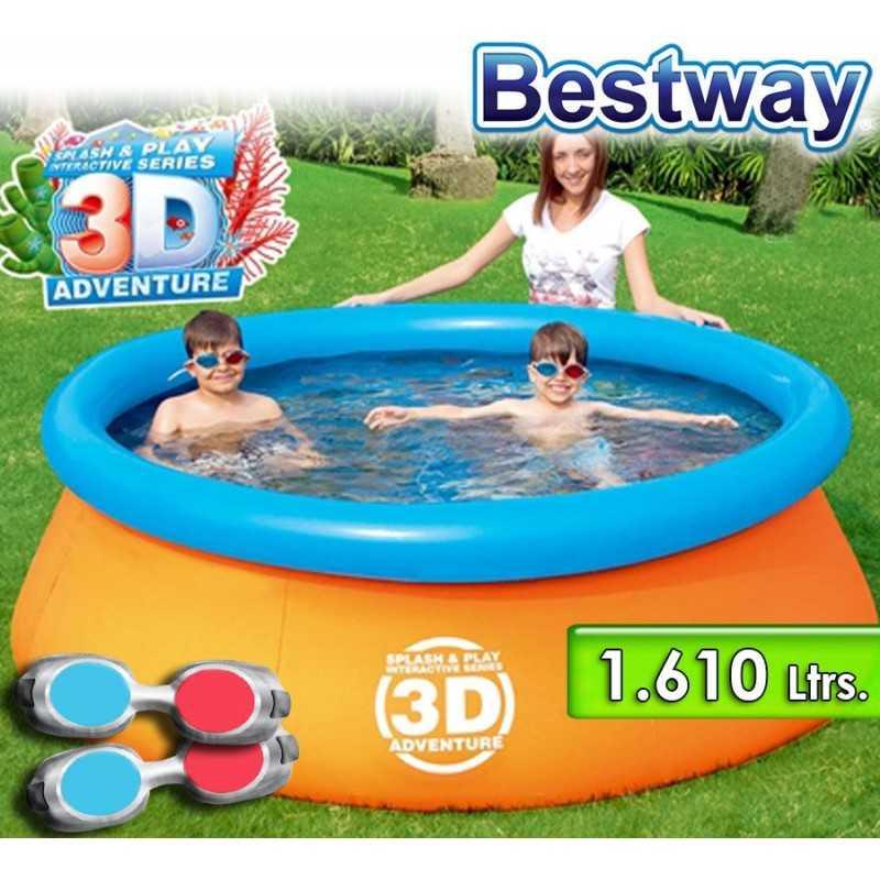 Piscina Borde Inflable - 1.610 Ltr - Ø 2,13 x H. 0,66 Mtr - Bestway - 3D Splash & Play Aventura - 57244B + Inflador