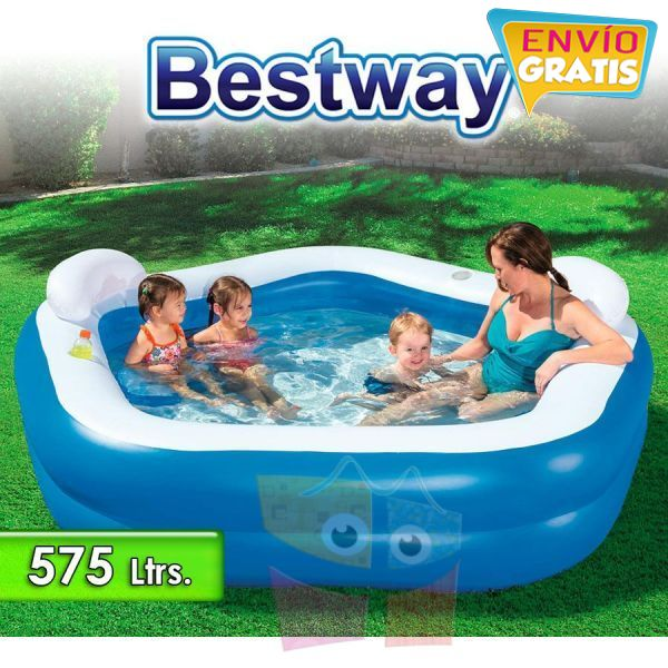Piscina Infantil Inflable - 575 Lts - 2,13 x 2,06 x H. 0,69 Mtr - Bestway - Family Fun - 54153 + Inflador