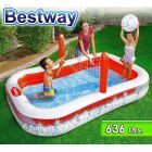 Piscina Infantil Inflable - 636 Lts - 2,54 x 1,68 x H. 0,97 Mtr - Bestway - con Red Voleibol - 54125 + Inflador y Pelota