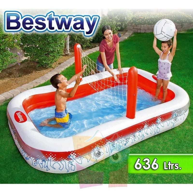 Piscina Infantil Inflable - 636 Lts - 2,54 x 1,68 x H. 0,97 Mtr - Bestway - con Red Voleibol - 54125 + Inflador y Pelota